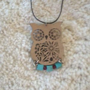 Hand made wooden owl necklace